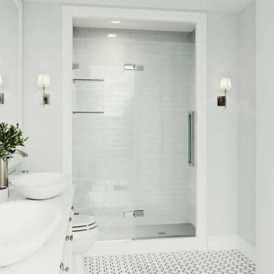 Powell 47 to 49 in. W x 74 in. H Pivot Frameless Shower Door in Chrome with Clear Glass