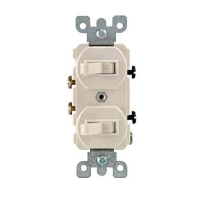 15 Amp Combination Double Switch, Light Almond