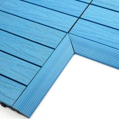 1/6 ft. x 1 ft. Quick Deck Composite Deck Tile Inside Corner Fascia in Caribbean Blue (2-Pieces/Box)