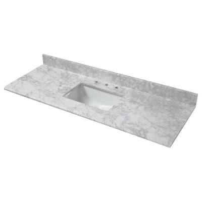 61 in. W x 22 in. D Marble Single Trough Sink Vanity Top in Carrara