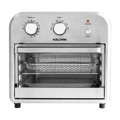 12 qt. Stainless Steel and Black Air Fryer Oven