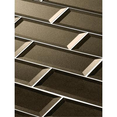Forever Bronze Reverse Beveled Large Format Subway 4 in. x 16 in. Glossy Glass Wall Tile (16 sq. ft./case)