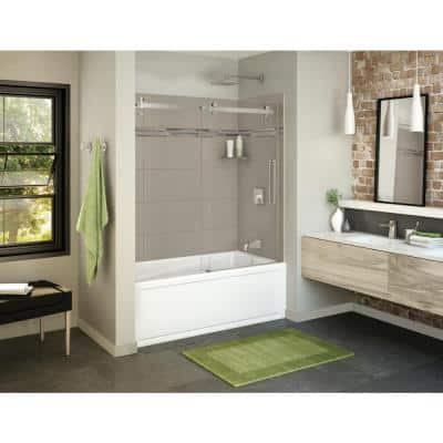 Utile Origin 30 in. x 59.8 in. x 81.4 in. Right Drain Alcove Bath and Shower Kit in Greige with Brushed Nickel Door