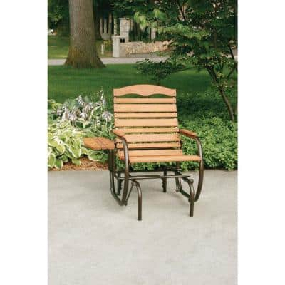 Bronze Outdoor Country Garden Glider Chair with Trays