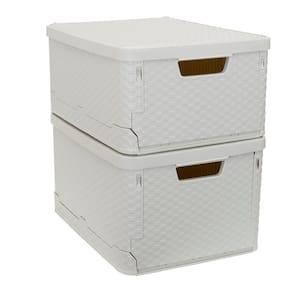 9.45 Gal. Stacking Plastic Rattan Storage Box Set in Cream