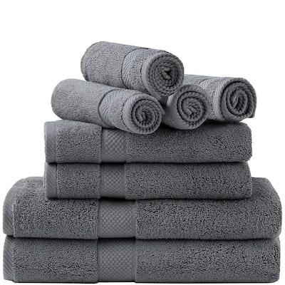 8-Piece Gray Ring Spun Cotton Highly Absorbent Bath Towel Set