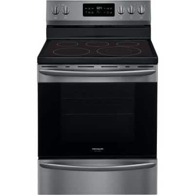 30 in. 5.4 cu. ft. Freestanding Electric Range with Steam Clean in Black Stainless Steel