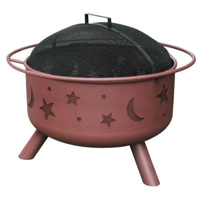 24 in. Big Sky Stars and Moons Fire Pit in Georgia Clay with Cooking Grate