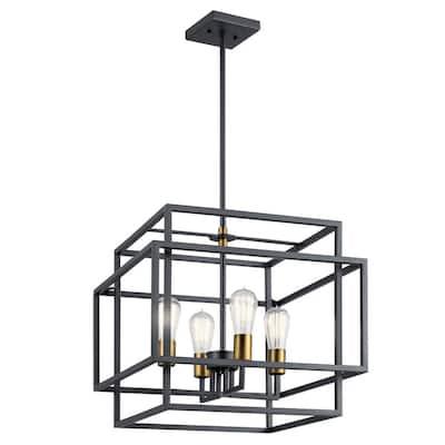 Taubert 4-Light Black/Natural Brass Foyer Pendant Light