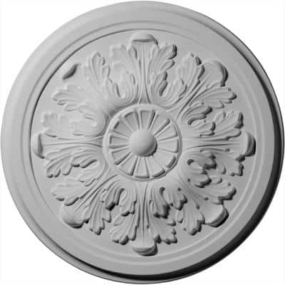 "12-3/4"" x 7/8"" Legacy Acanthus Urethane Ceiling Medallion (Fits Canopies upto 3-1/2""), Primed White"