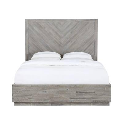 Alexandra Light Wood Rustic Latte Queen Platform Bed with Herringbone Patterned Headboard