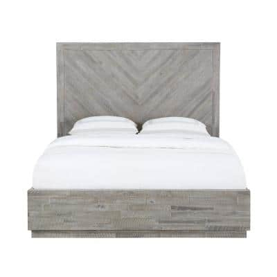 Alexandra Light Wood Rustic Latte Queen Storage Bed with Hidden Footboard Drawers