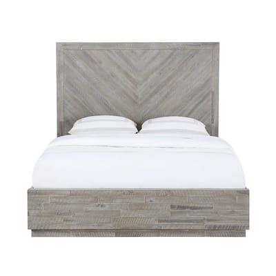 Alexandra Light Wood Rustic Latte Queen Storage Bed with Hidden Footboard Drawers