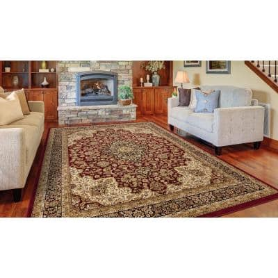 Silk Road Red 4 ft. x 6 ft. Medallion Area Rug