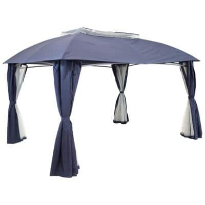 13 ft. L x 10 ft. L Soft Top Navy Gazebo with Mesh Screen and Privacy Walls