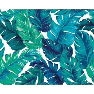 Turquoise and Green Tropical Leaves Wall Mural