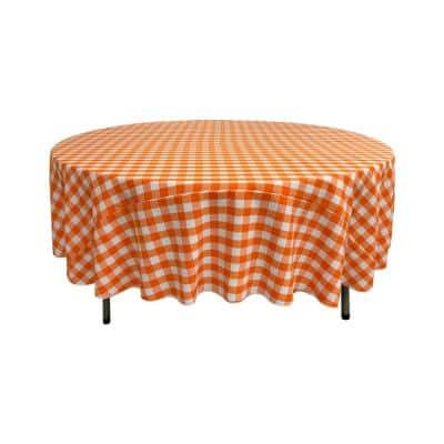 72 in. White and Orange Polyester Gingham Checkered Round Tablecloth