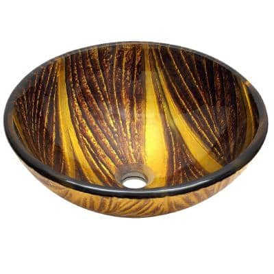 Detian Glass Vessel Sink Handcrafted in Classic Brown and Yellow Tone