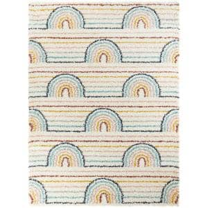 Hailey Rainbow Shag White 4 ft. x 6 ft. Area Rug