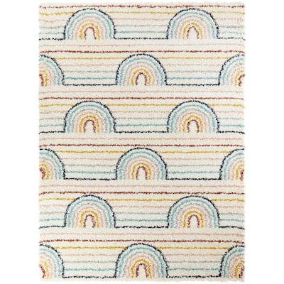Hailey Rainbow Shag White 5 ft. x 7 ft. Area Rug