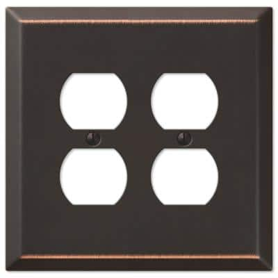 Oversized 2 Gang Duplex Steel Wall Plate - Aged Bronze
