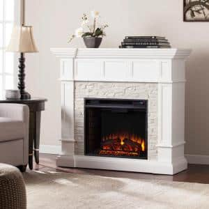 Amesbury 45.5 in. W Corner Convertible Electric Fireplace in White