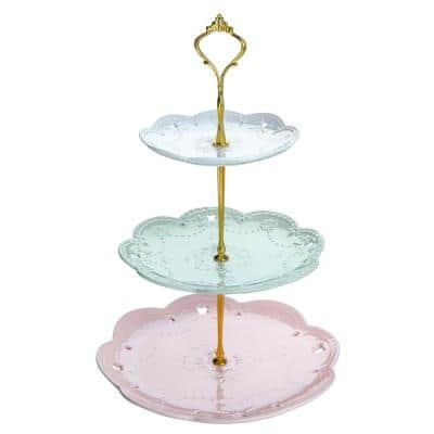 3-Tiered Assorted Colors Cupcake Tower Stand Porcelain Round Tiered Serving Stand