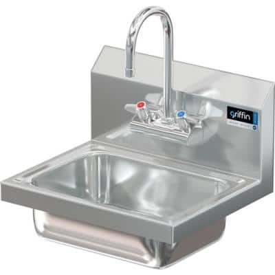 17 in. Wall Mount Stainless Steel 1 Compartment Commercial Hand Wash Sink with Faucet