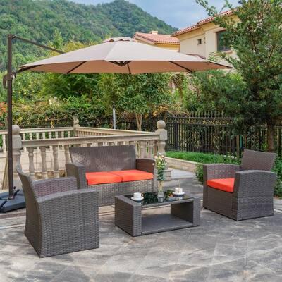 Hudson 4-Piece Rattan Wicker Patio Conversation Set with Orange Cushions