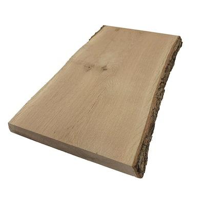 2 in. x 12 in. to 16 in. x 4 ft. White Oak Live Edge Sawn Board