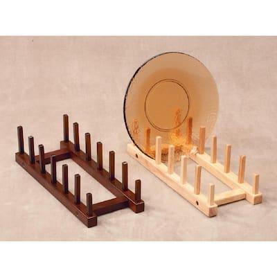 Walnut Wood 6-Place Standing Plate/Dish Rack (Set of 2)