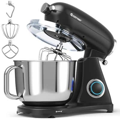 800W 7 qt. . 6-Speed Black Stainless Steel Stand Mixer with with Tilt-Head