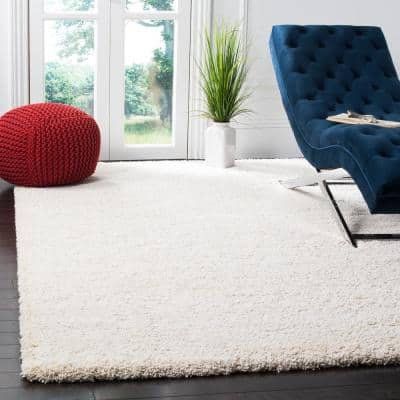 Milan Shag Ivory 10 ft. x 10 ft. Square Solid Area Rug