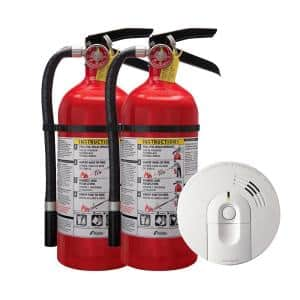 Home Fire Safety Kit, 4-Pack Hardwired Smoke Detector with 9-Volt Battery Backup and 2-Pack Pro Fire Extinguisher