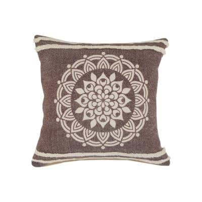 Hickory Brown / White Floral Medallion Stripe Border Poly-Fill 20 in. x 20 in. Throw Pillow