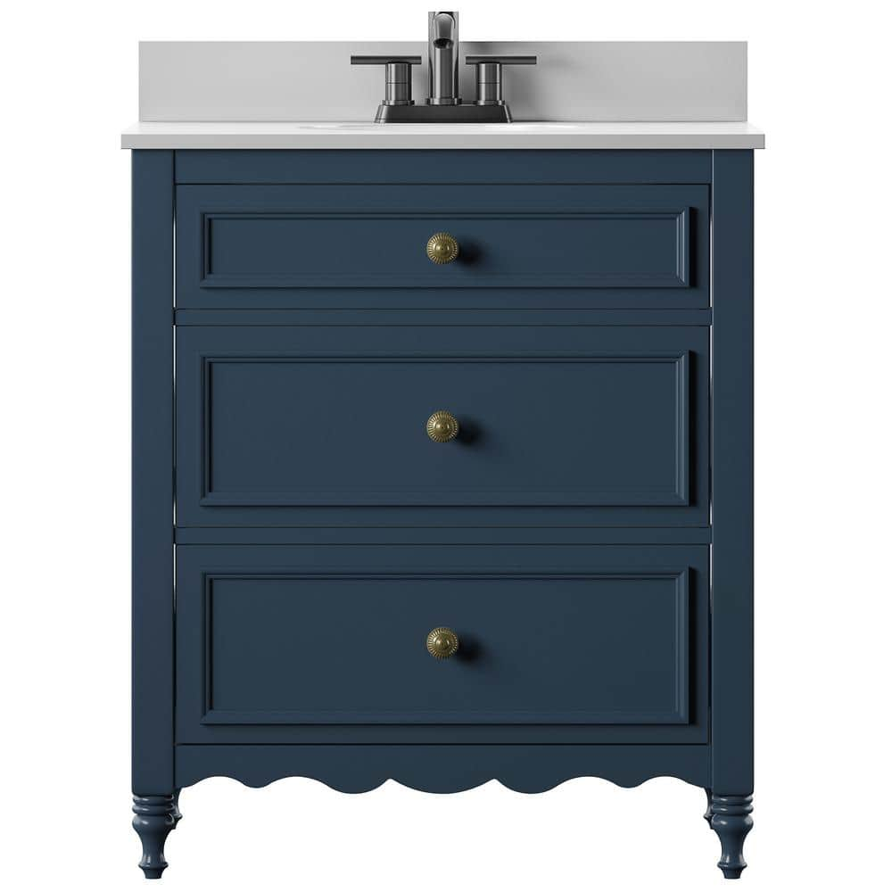 Twin Star Home 30 In Bath Vanity In Blue Cottage Dresser Style With Vanity Top In White Stone And White Basin 30bv479 F969 The Home Depot