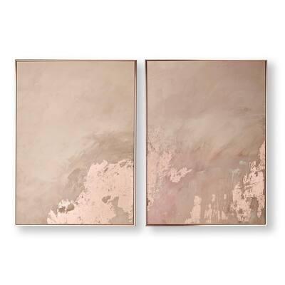 Rose Gold Serenity Framed Canvas Wall Art (Set of 2)