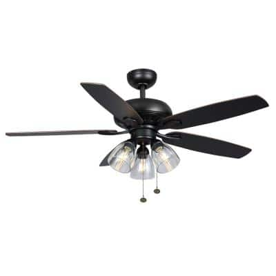 Rockport 52 in. Indoor LED Matte Black Ceiling Fan with Light Kit, Downrod, and 5 Reversible Blades