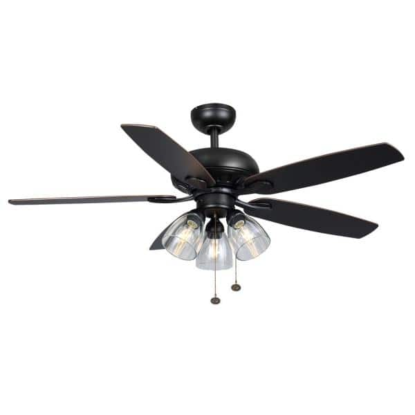Hampton Bay Rockport 52 In Led Matte Black Ceiling Fan 91854 The Home Depot