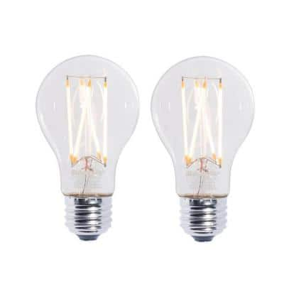 60W Equivalent Warm White Light A19 Dimmable LED Filament Light Bulb (2-Pack)