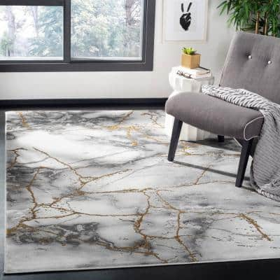 Craft Gray/Gold 9 ft. x 9 ft. Square Area Rug