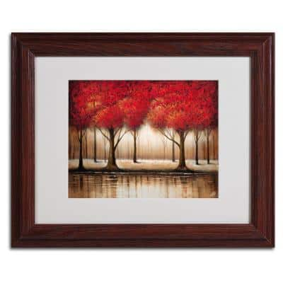 11 in. x 14 in. Parade of Red Trees Matted Framed Art