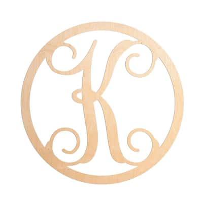 19 in. Unfinished Single Circle Monogram (K)