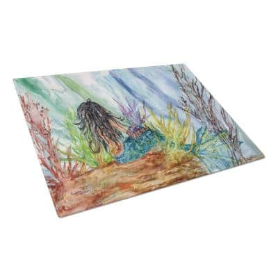 Black Haired Mermaid Water Fantasy Tempered Glass Large Cutting Board