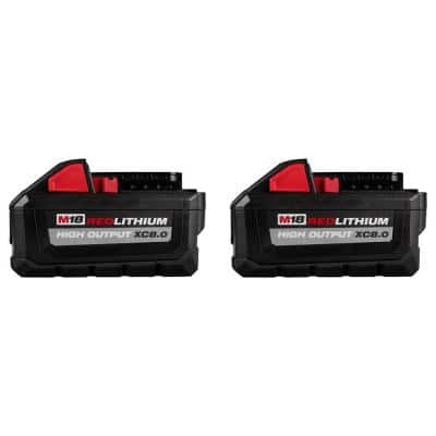 M18 18-Volt Lithium-Ion High Output XC 8.0 Ah Battery (2-Pack)