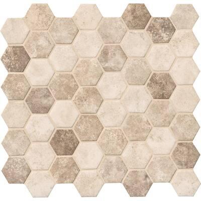 Sandhills Hexagon 12 in. x 12 in. x 6mm Glass Mesh-Mounted Mosaic Tile (14.7 sq. ft./Case)