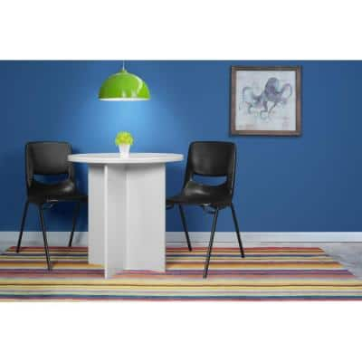 Mod White Wood Grain 30 in. Round Table
