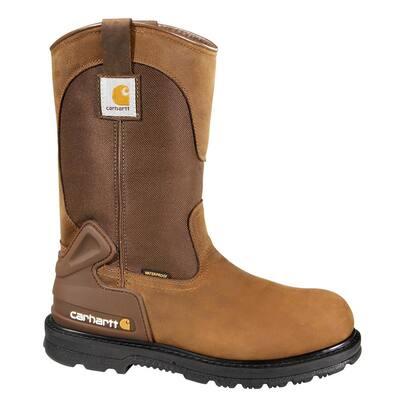 Men's Core Waterproof Wellington Work Boots - Steel Toe - Brown Size 14(W)