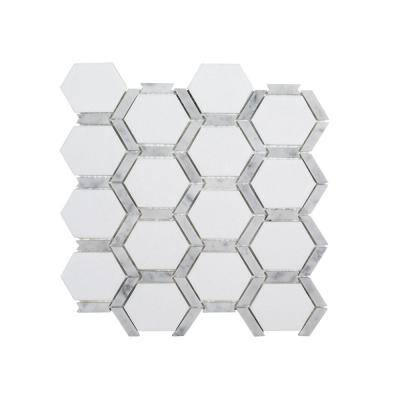 Norton White 11.75 in. x 11.875 in. Hexagon Semi Polished Marble Wall and Floor Mosaic Tile (0.968 sq. ft./Each)