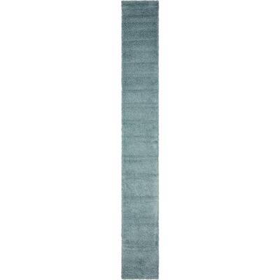 Solid Shag Slate Blue 2 ft. x 19 ft. Runner Rug